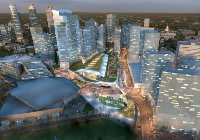 Rendering of the Multi Modal Passenger Terminal which calls for a new transit line in the Gulch