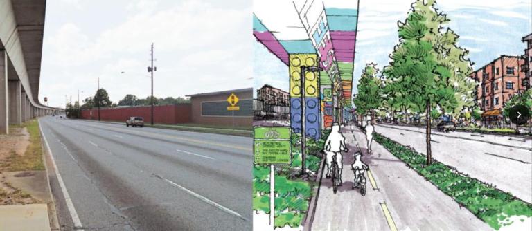 Rendering of Lee Street bike project