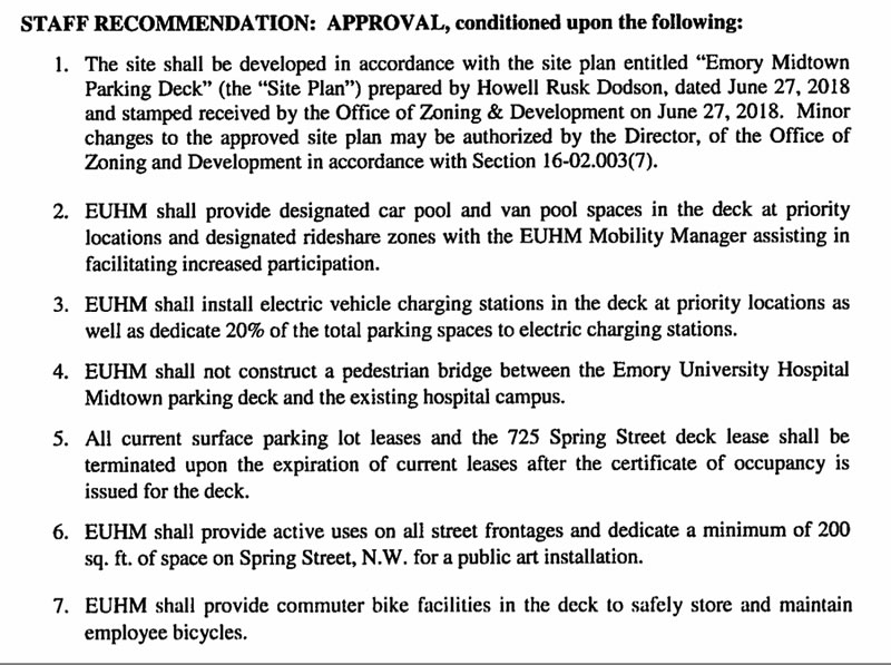 Approval conditions for the parking deck.