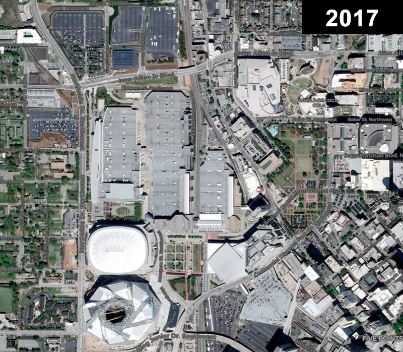 What became of Lightning: the GWCC complex, including the former (now gone) Dome and the Benz stadium